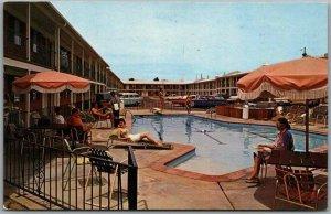 Albuquerque, NM Postcard RAMADA INN Girls at the Pool ROUTE 66 c1960s Unused