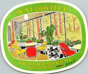 Germany Friedrichsruhe Waldhotel Vintage Luggage Label sk4827