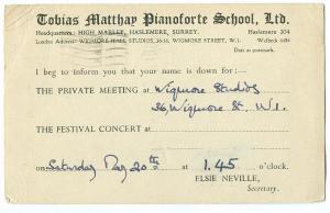 Tobias Matthew Pianoforte School 1944 used invitation