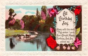 Embossed: All Birthday Joy! Roses Forget-me-Nots, Bells, Cattle, real photo