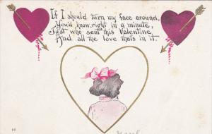 VALENTINE'S DAY: Poem of Girl with face turned wearing a pink bow, Red hearts...