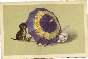 PC CPA CATS, TWO CATS AND A DOG WITH AN UMBRELLA, Vintage Postcard (b27038)