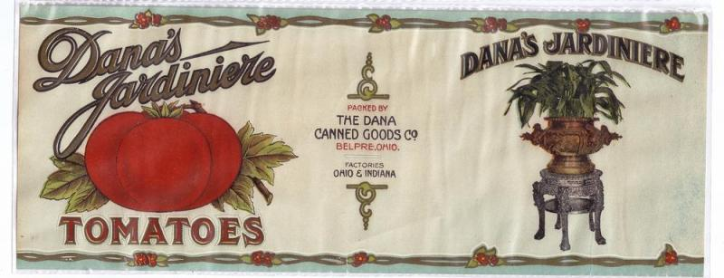 Dana's Jardiniere Tomatoes Vintage Can Label Belpre OH