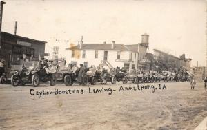 Armstrong IA~Ceylon MN Boosters Car Parade~Emerson Vehicles~John Deere~1913 RPPC