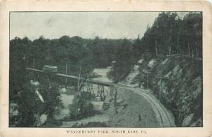 North East Pennsylvania~Waynehurst Park~Interurban Trolley on Bridge~1908 B&W PC