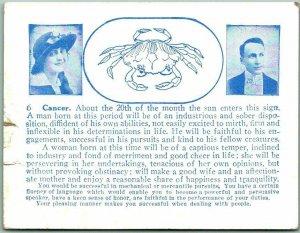 Vintage 1920s HOROSCOPE Arcade Exhibit Card CANCER Crab Romance Humor Unused