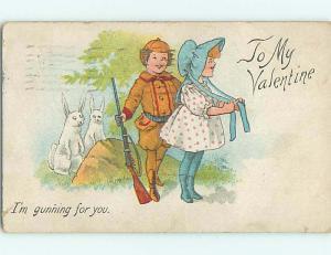 Pre-Linen valentine BUNNY RABBITS WATCH HUNTER WITH RIFLE GUN PURSUE GIRL HL1507
