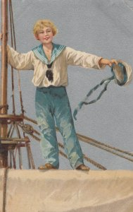 Young Boy in Sailor Outfit standing on a Mast, 1900-10s