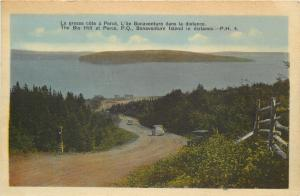 Perce Quebec~Big Hill at Perce~Bonaventure Island~Cars Downhill~Dirt Road~1930s