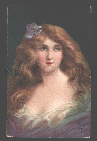 106916 BELLE Lady in BLUE Long Hair by Angelo ASTI vintage PC