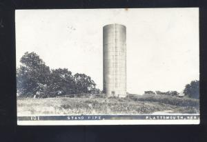 RPPC PLATTSMOUTH NEBRASKA STAND PIPE WATER TOWER REAL PHOTO POSTCARD 1913