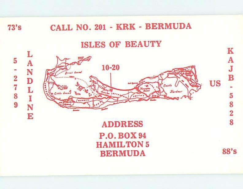 Pre-1980 RADIO CARD - CB HAM OR QSL Hamilton Bermuda Carribean AH1742