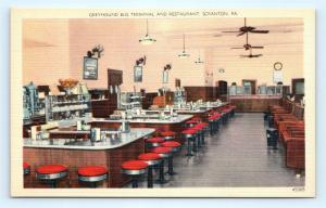 Postcard PA Scranton Greyhound Bus Terminal Restaurant Interior Vintage K16