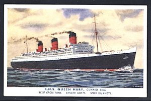 Cunard Lines RMS Queen Mary Postcard