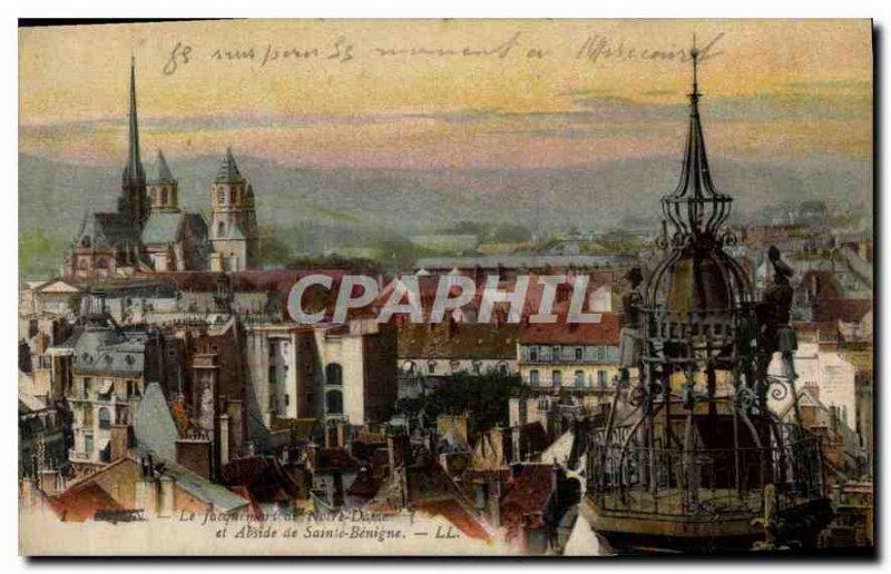 Old Postcard The Jacquemart Dijon Notre Dame and apse of St. Benigne