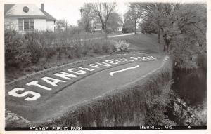 D87/ Merrill Wisconsin Wi Photo RPPC Postcard c1950s Stange Public Park Sign