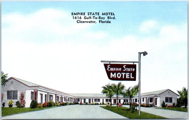 Clearwater, Florida Postcard EMPIRE STATE MOTEL 1616 Gulf-To-Bay Blvd. Linen