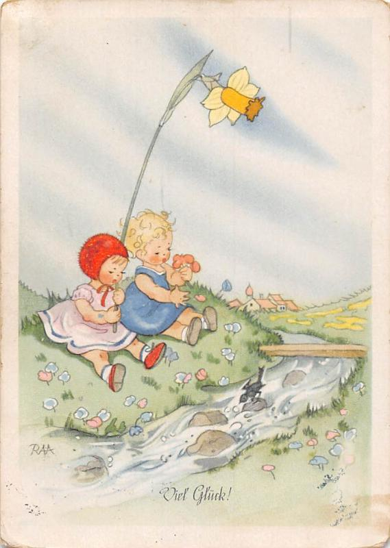 Viel Glueck! Greetings, Fantasy Giant Narcissus Flowers Children Bird River 1947