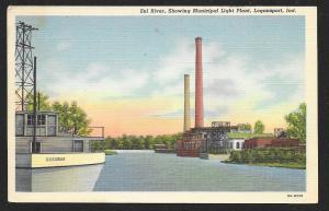 Eel River at Municipal Light Plant Logansport Indiana Unused c1938