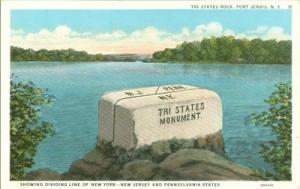 Tri States Rock, Port Jervis, N.Y. 1920s unused Postcard