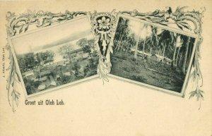 indonesia, SUMATRA, OLEH-LEH, Aceh Atjeh, Partial View, Wharf (1899) Postcard