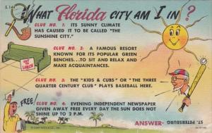 Florida St Petersburg Clue Card What City Am I In Curteich Beach