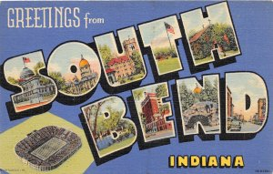 F60/ South Bend Indiana Postcard Large Letter Notre Dame Stadium