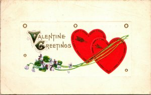 VALENTINE Antique PC GREETING HEART FLOWERS - VINTAGE - POSTED POSTCARD
