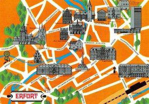 Vintage 1978 ERFURT East Germany, Street, Map Buildings Postcard ES4