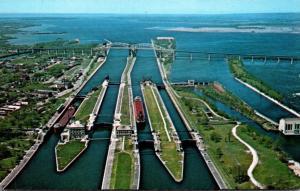 Michigan Sault Ste Marie Aerial View Of The Soo Locks