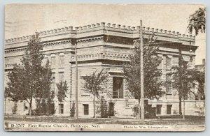 Holdrege Nebraska~First Baptist Church~Trees Along Side~1911 B&W Postcard