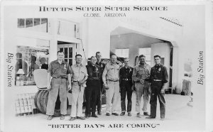 Hutch's Super Service (Gas Station), Globe AZ Real Photo Postcard