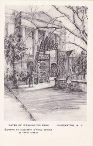 South Carolina Charleston Gate Of Washington Park Artvue