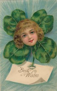ST. PATRICK'S DAY , 1900-10s ; Girl's  Head on a shamrock