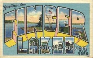 Finger Lakes, New York USA Large Letter Town 1943 light wear