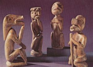 Totemistic Figures Indian Nigei Island Primitive Art Canada Postcard