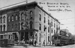 Zanesville Ohio~Main @ 6th Street~Ohio Electric Depot~Trolleys~1910 CU Williams