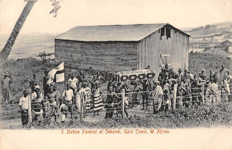 Ghana Gold Coast Native Funeral at Sekondi postcard