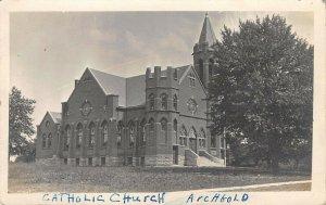 Archbold OH~Roman Catholic Church~Corner Tower w/Battlements~RPPC c1917 Postcard