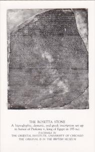 RP; The Rosetta Stone, Hieroglyphic, demontic, and Greek inscription set up i...