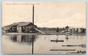 Ogema Wisconsin~Ogema Lumber Company Saw Mill~Home~Rowboat Holmes Creek~1913