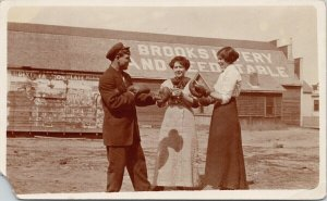 Brooks Alberta Man Woman Boxing Gloves Livery Feed Stable RP Postcard G89 *as is
