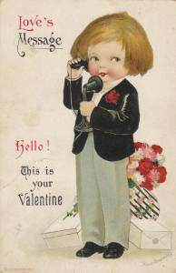 VALENTINE'S DAY , 1900-10s ; Boy on Telephone ; CLAPSADDLE