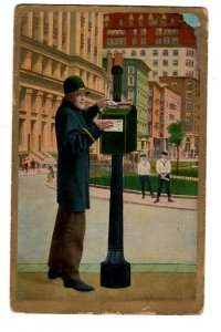 For my Rebecca, Man Mailing Postcard, First Name, Used 1913