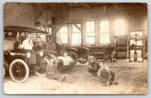 Automobile Garage~African American Mechanic~Tools~Chevrolet Car~c1914 RPPC