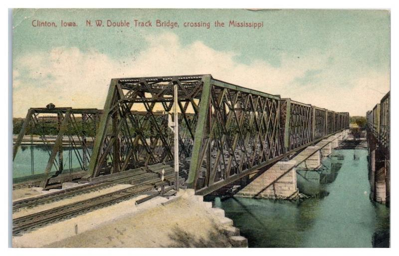 1911 Chicago & North Western Railway Double Track Bridge, Clinton, IA Postcard