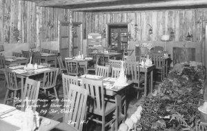 RPPC River Inn Dining Room Rock Garden, Big Sur, CA Zan c1940s Vintage Postcard