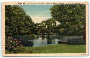 Postcard DE The Lake Longwood Gardens Near Kennett Square PA & Wilmington D11