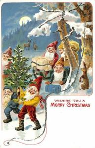 Merry Christmas Brown Robed Santa Claus Elves Postcard