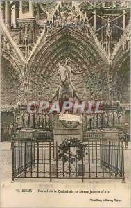 Old Postcard Reims Cathedral and Jeanne d'Arc Statue Portal